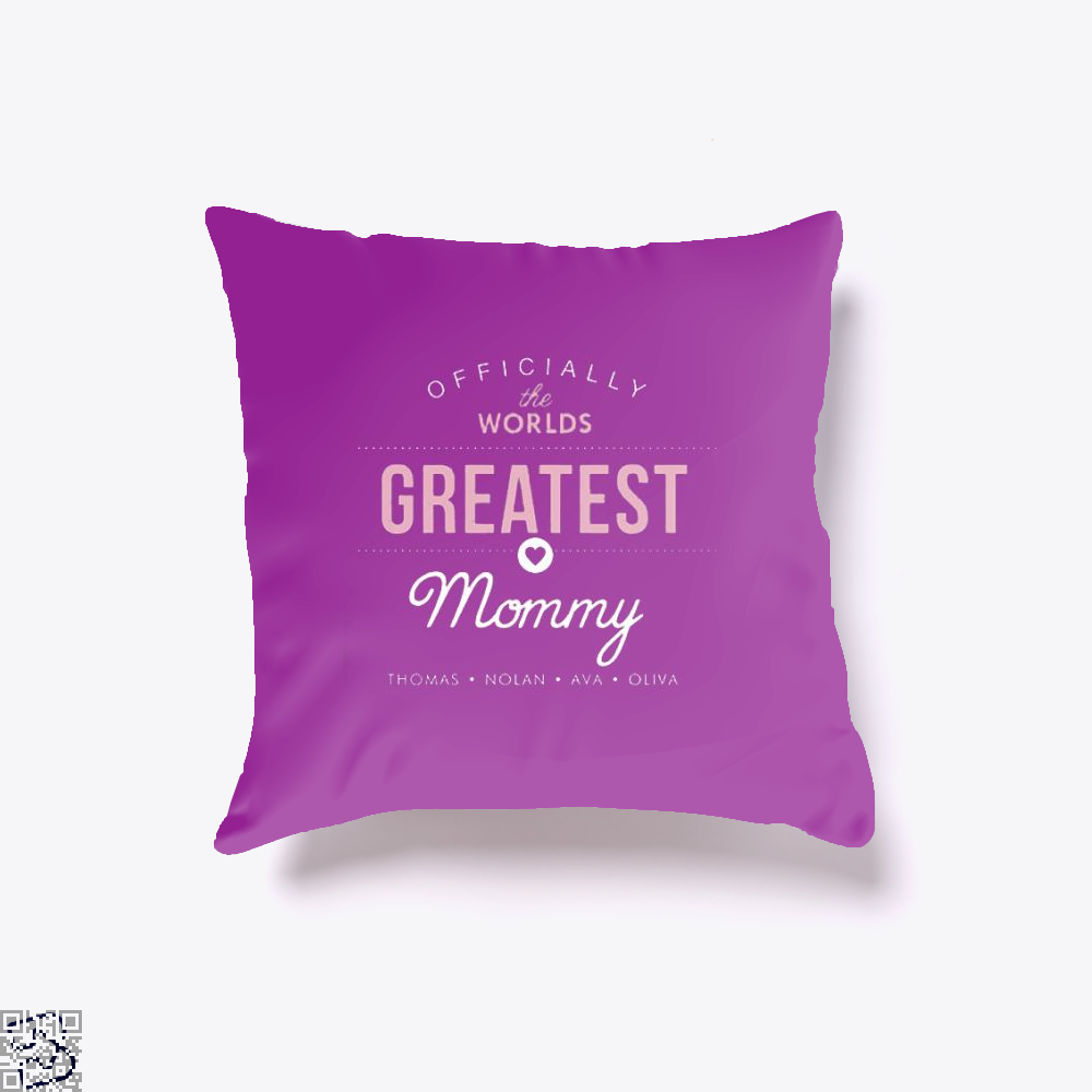 Officially The Worlds Greatest Mommy Mothers Day Throw Pillow Cover - Purple / 16 X - Productgenjpg