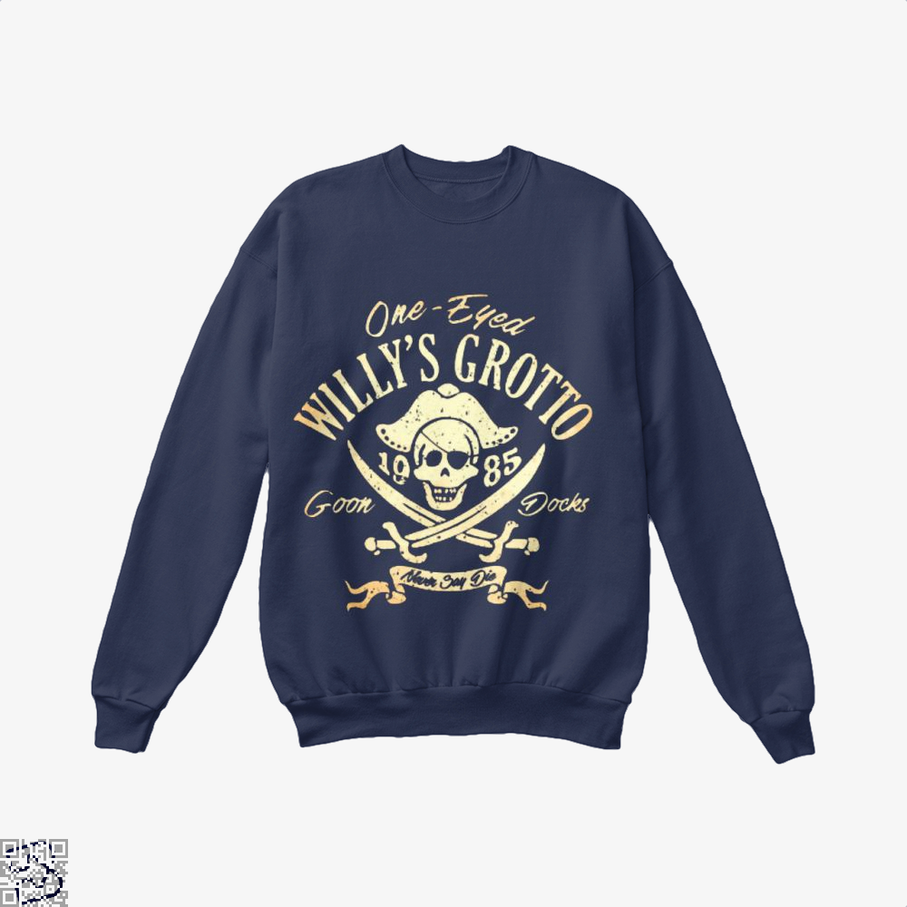 One-Eyed Willys Grotto 1985 Goon Docks Never Say Die The Goonies Crew Neck Sweatshirt - Blue / X-Small - Productgenapi