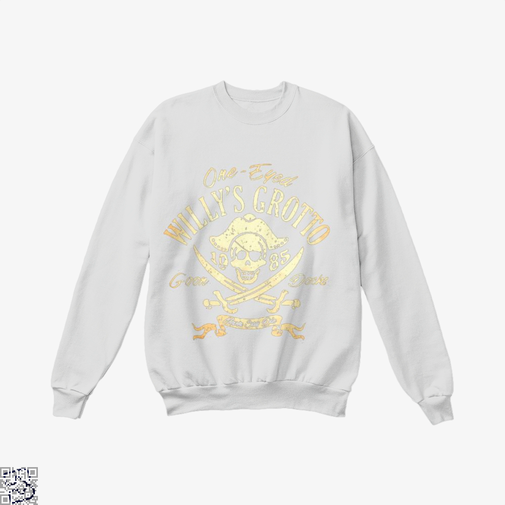 One-Eyed Willys Grotto 1985 Goon Docks Never Say Die The Goonies Crew Neck Sweatshirt - White / X-Small - Productgenapi