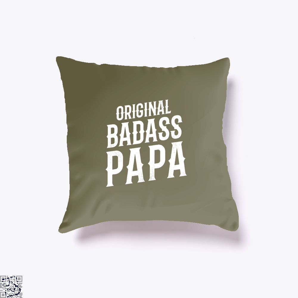 Original Badass Papa Fathers Day Throw Pillow Cover - Brown / 16 X - Productgenapi