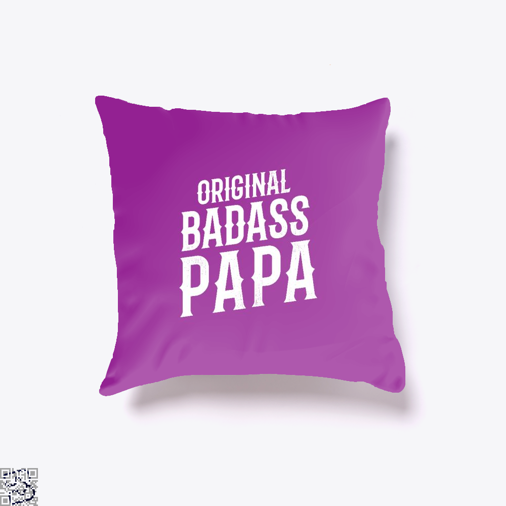 Original Badass Papa Fathers Day Throw Pillow Cover - Purple / 16 X - Productgenapi