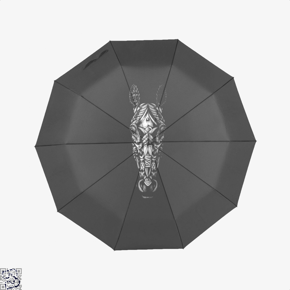 Ornate Horse Head Bw Umbrella - Black - Productgenjpg