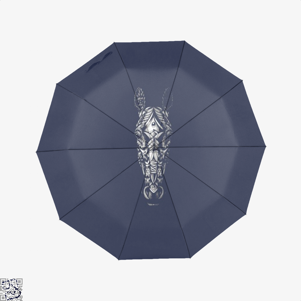 Ornate Horse Head Bw Umbrella - Blue - Productgenjpg