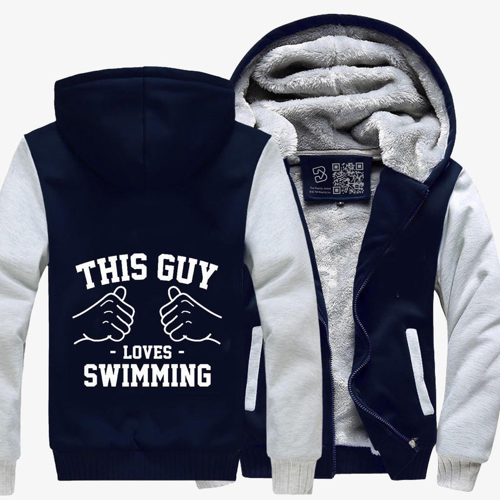 This Guy Loves Swimming, Swim Fleece Jacket