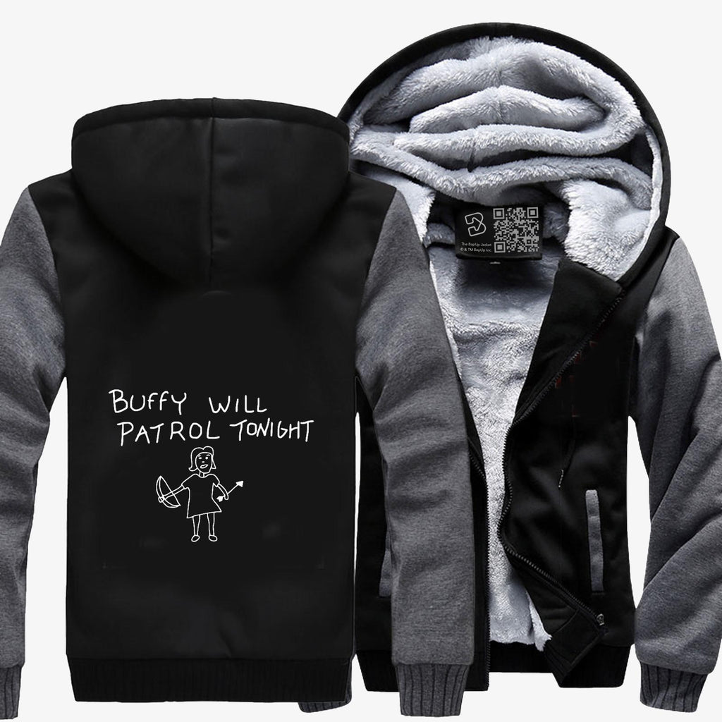 Buffy Will Patrol Tonight , Vampire Fleece Jacket
