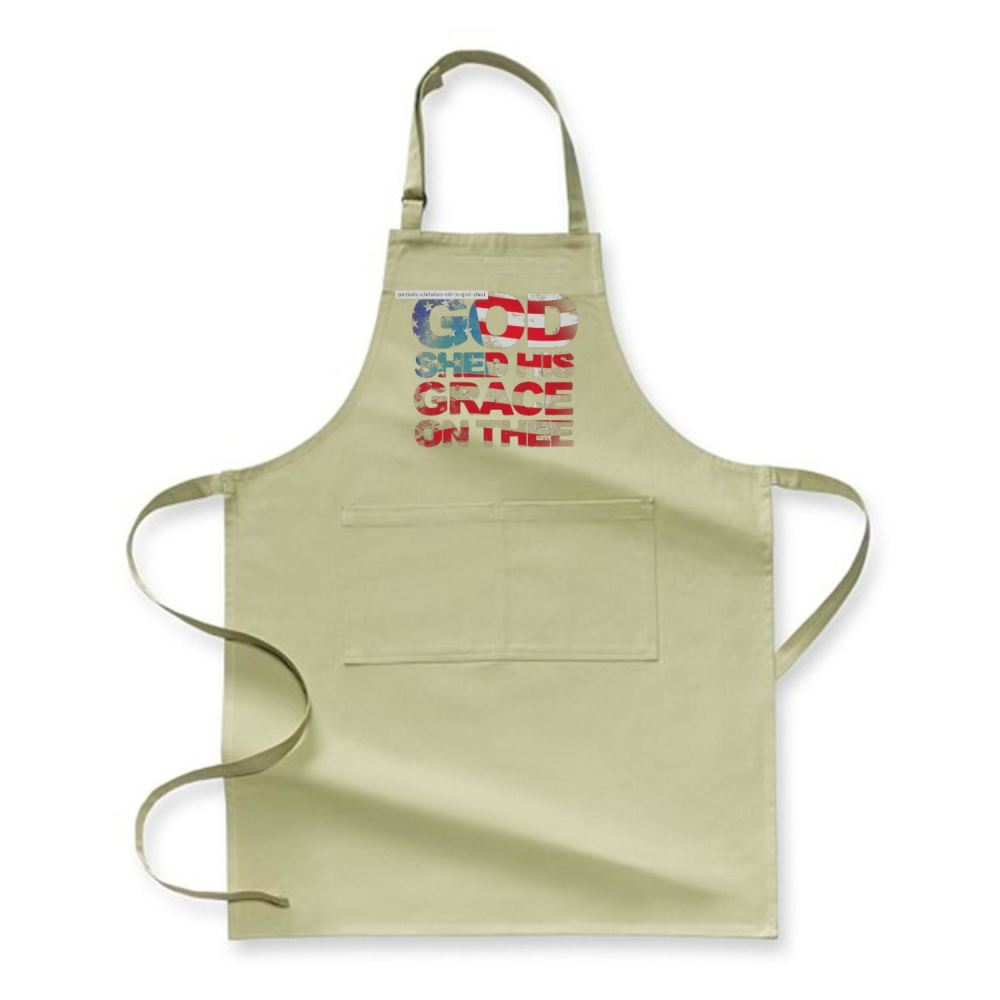 Patriotic Shirt God Shed His Grace On Thee Highbrow Apron - Green / Polyster - Productgenjpg
