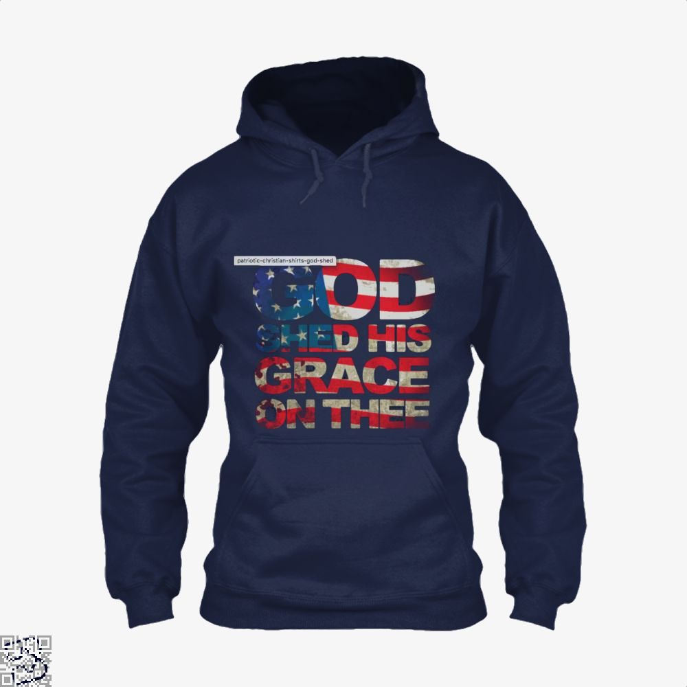 Patriotic Shirt God Shed His Grace On Thee Highbrow Hoodie - Blue / X-Small - Productgenjpg