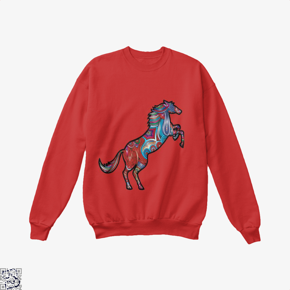 Prismatic Horse Crew Neck Sweatshirt - Red / X-Small - Productgenjpg