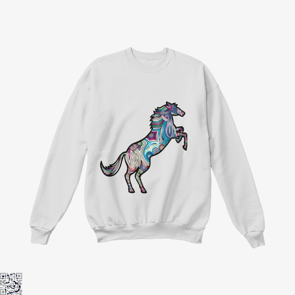 Prismatic Horse Crew Neck Sweatshirt - White / X-Small - Productgenjpg