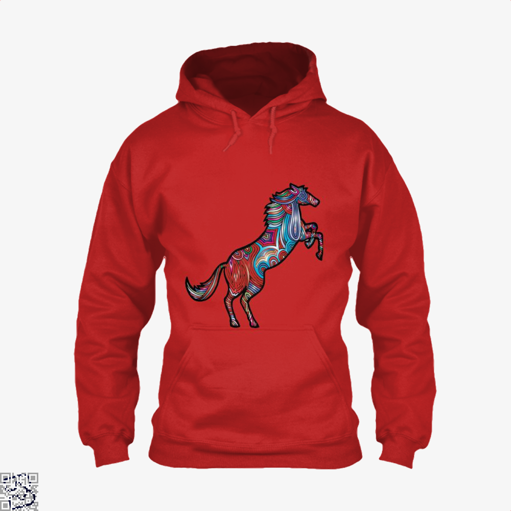 Prismatic Horse Hoodie - Red / X-Small - Productgenjpg