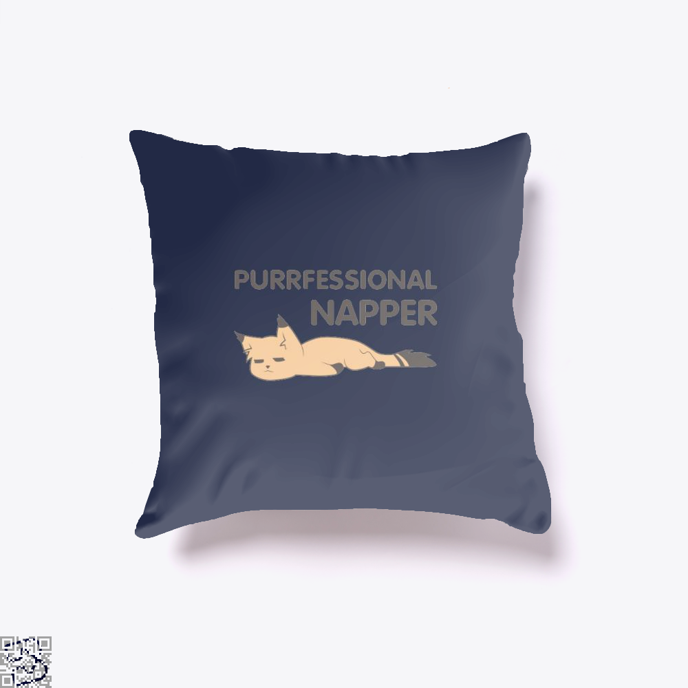Purrfessional Napper Cat Throw Pillow Cover - Blue / 16 X - Productgenjpg