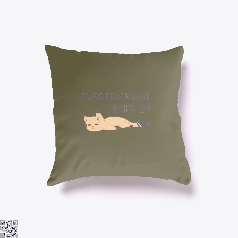 Purrfessional Napper Cat Throw Pillow Cover - Brown / 16 X - Productgenjpg
