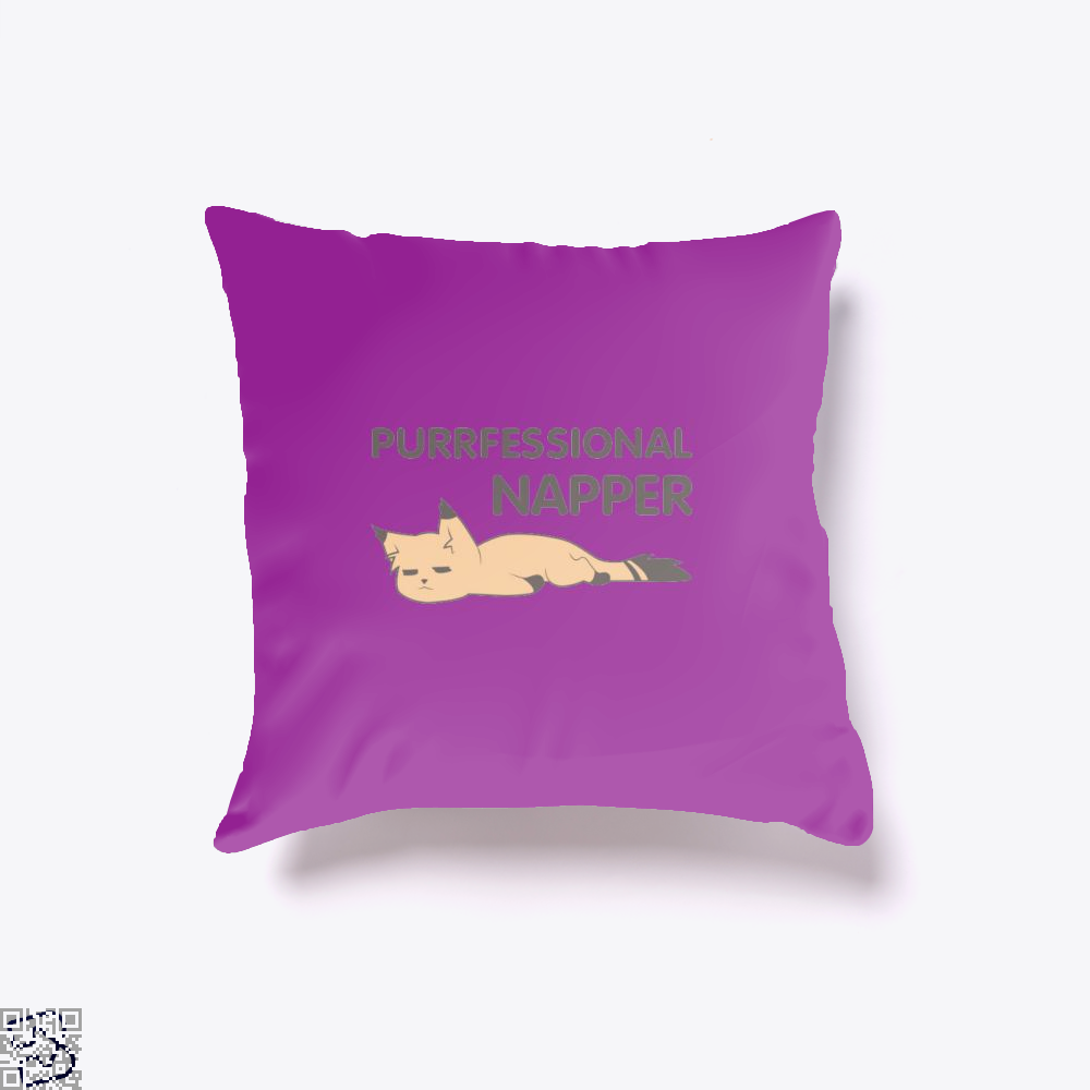 Purrfessional Napper Cat Throw Pillow Cover - Purple / 16 X - Productgenjpg