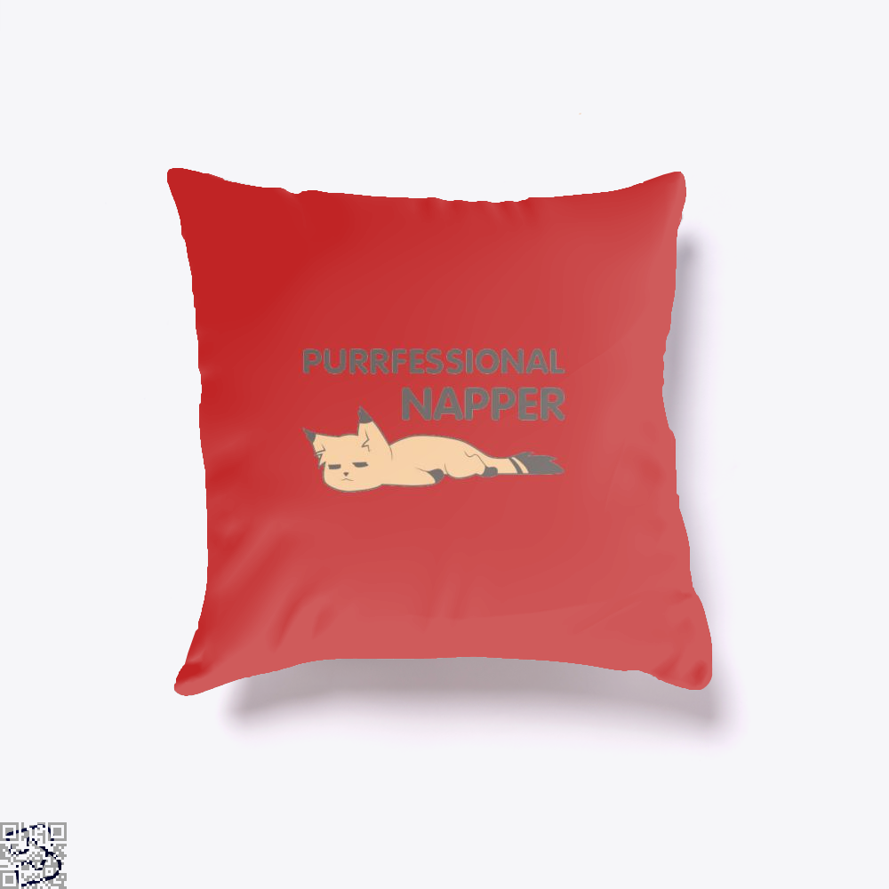 Purrfessional Napper Cat Throw Pillow Cover - Red / 16 X - Productgenjpg