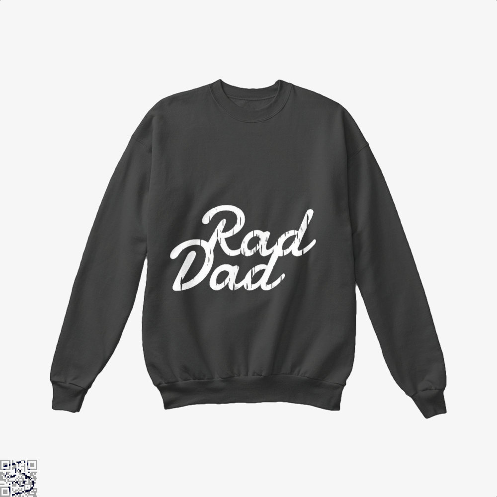 Rad Dad Fathers Day Crew Neck Sweatshirt - Black / X-Small - Productgenapi