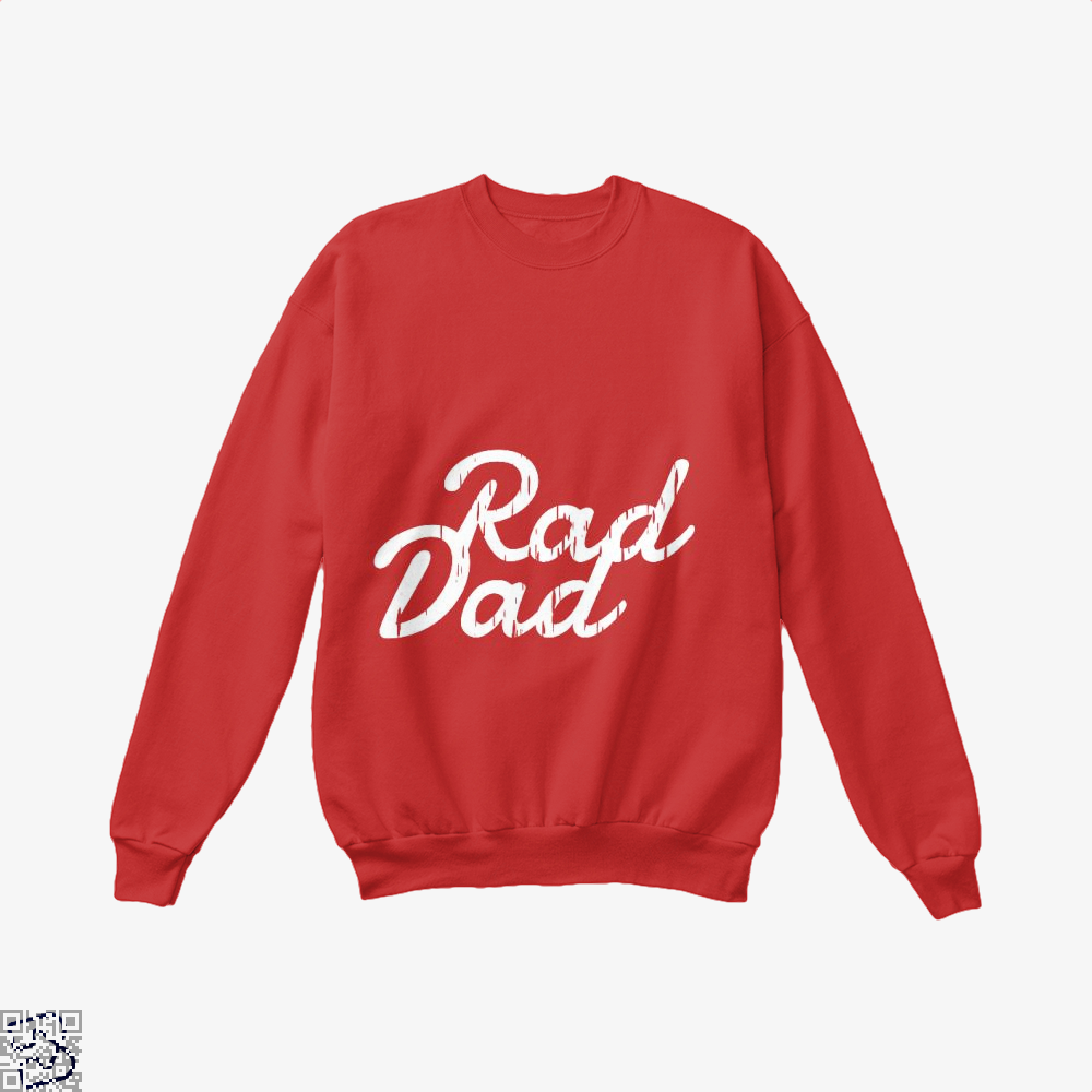 Rad Dad Fathers Day Crew Neck Sweatshirt - Red / X-Small - Productgenapi