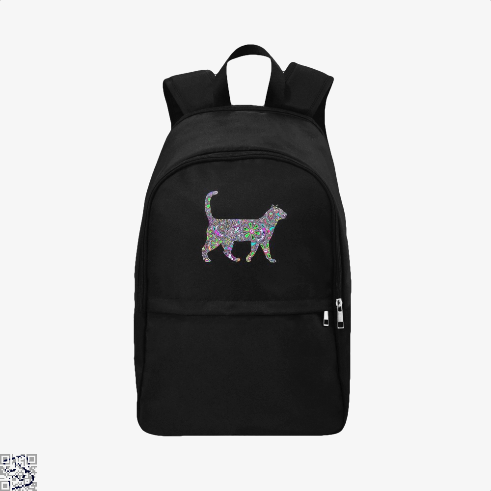 Rainbow Floral Cat Backpack - Black / Adult - Productgenjpg
