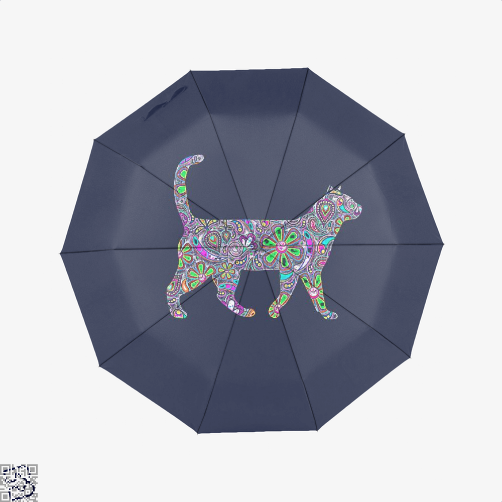 Rainbow Floral Cat Umbrella - Blue - Productgenjpg