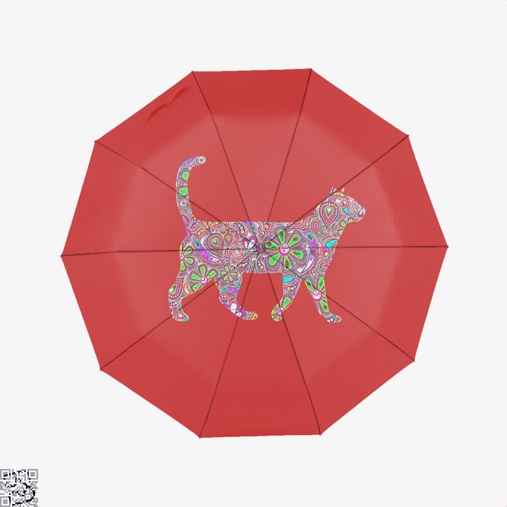 Rainbow Floral Cat Umbrella - Red - Productgenjpg