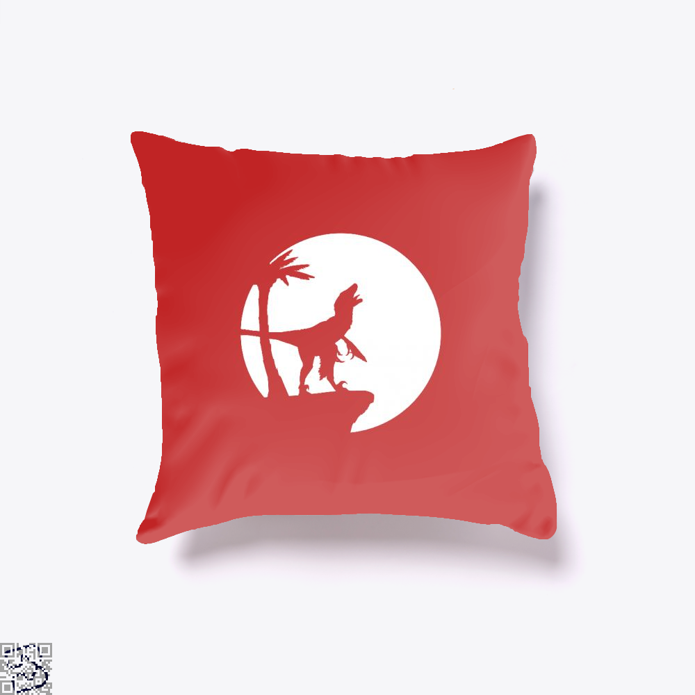 Raptor Moon Feathered Jurassic World Throw Pillow Cover - Red / 16 X 16 - Productgenapi