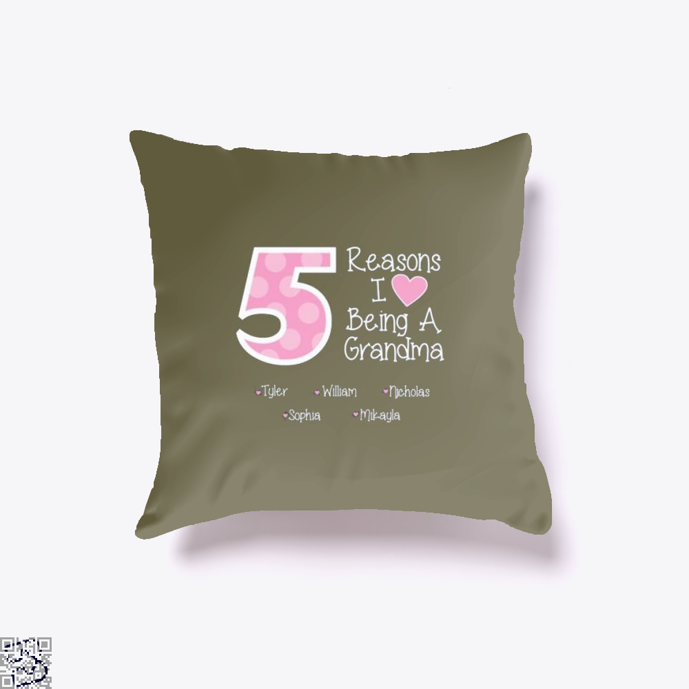 Reasons I Love Being A Grandma Mothers Day Throw Pillow Cover - Brown / 16 X - Productgenjpg