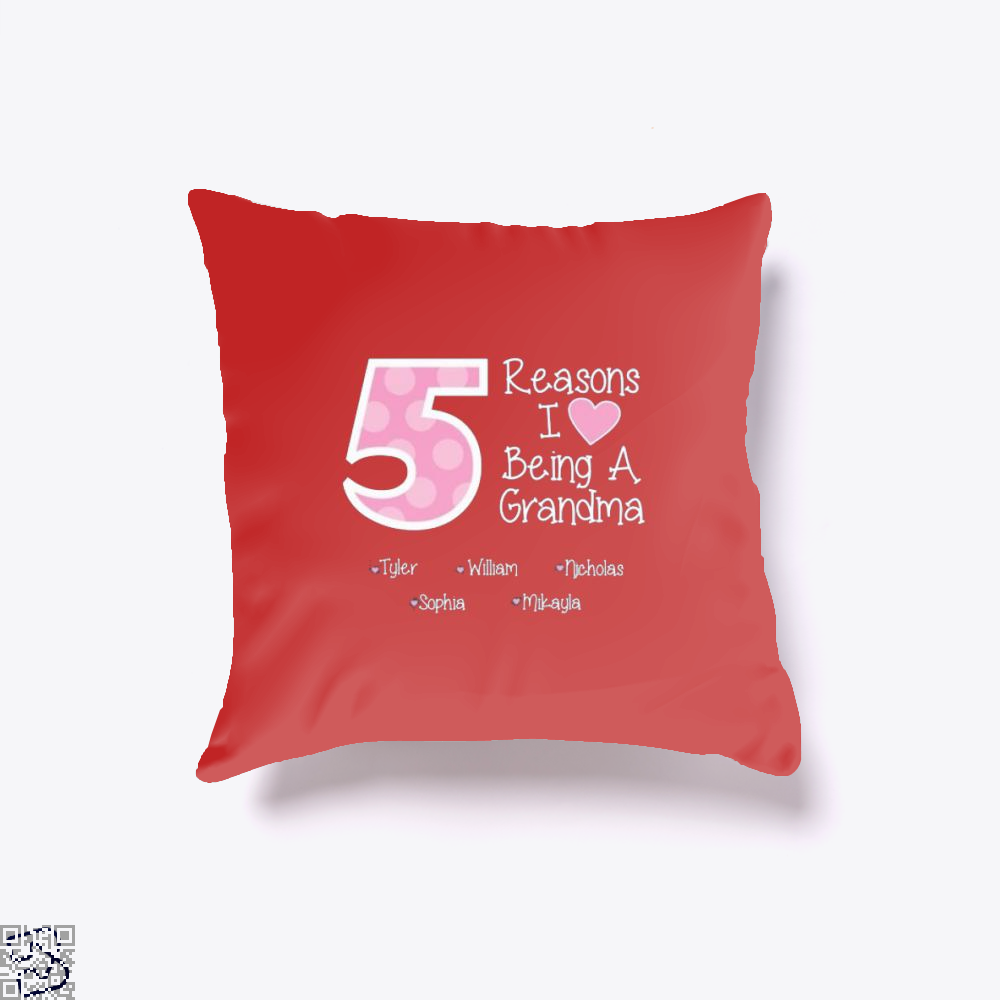 Reasons I Love Being A Grandma Mothers Day Throw Pillow Cover - Red / 16 X - Productgenjpg
