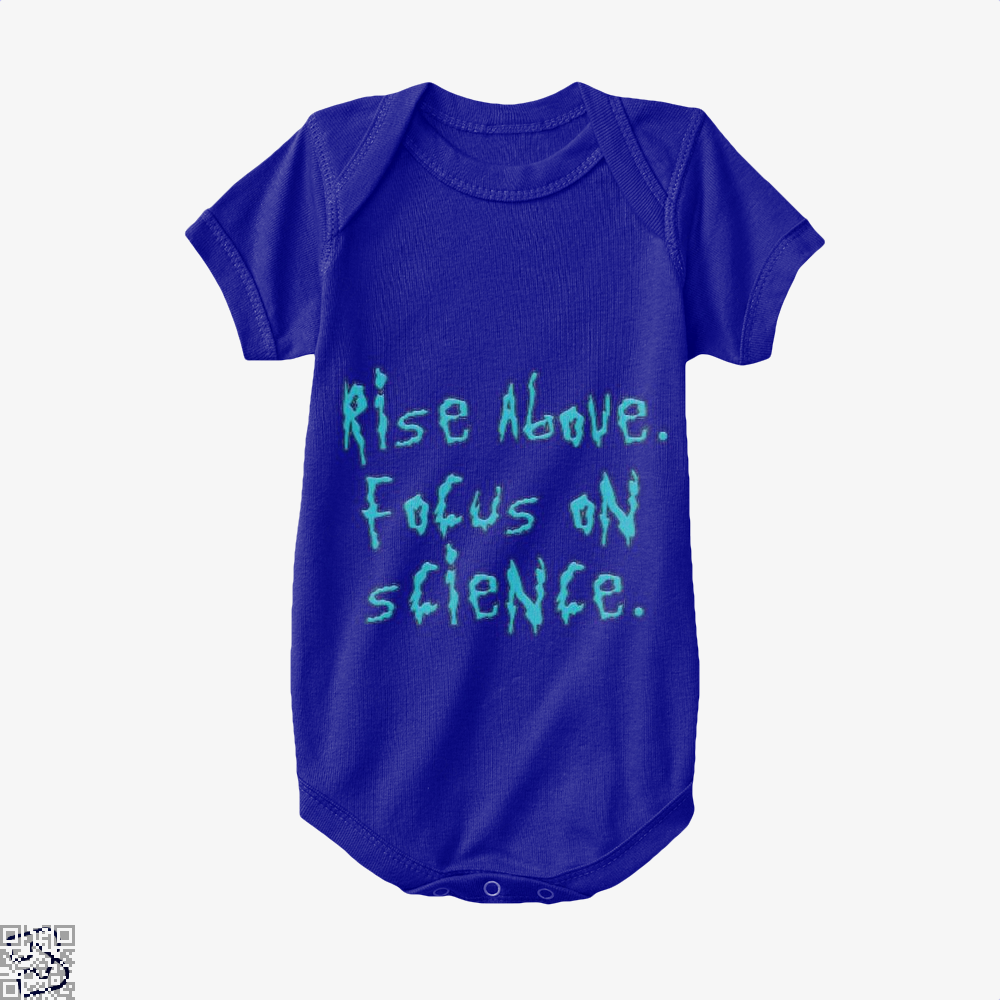 Rise Above Focus On Science Rick And Morty Baby Onesie - Navy / 0-3 Months - Productgenapi