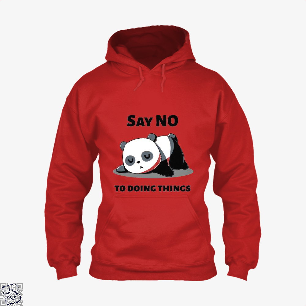 Say No To Doing Things Panda Hoodie - Red / X-Small - Productgenjpg