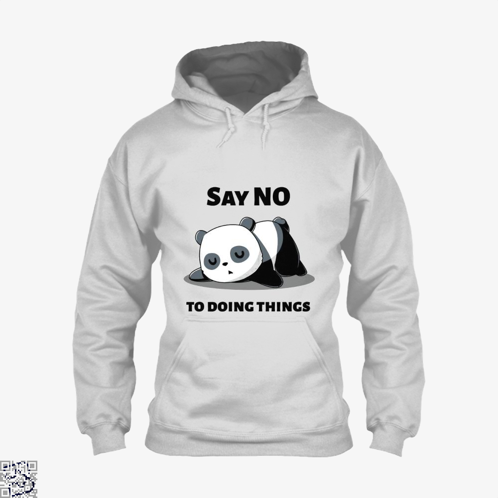 Say No To Doing Things Panda Hoodie - White / X-Small - Productgenjpg