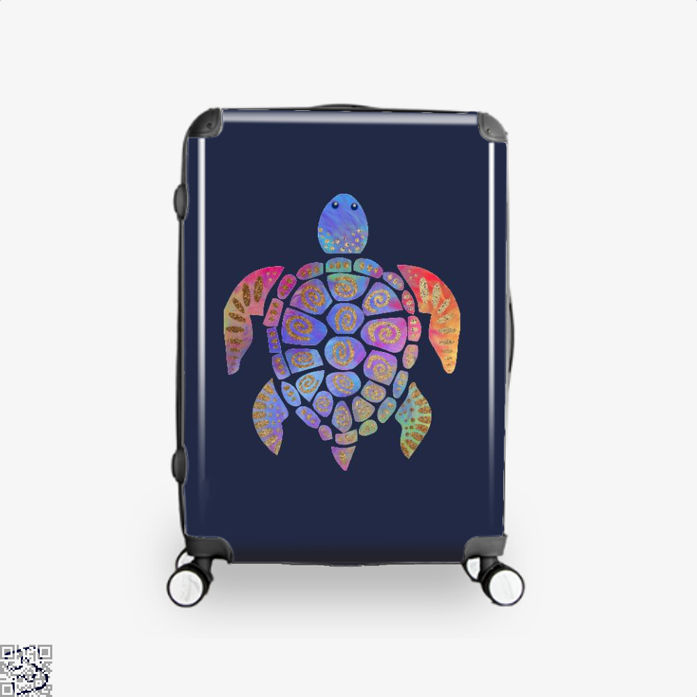 Sea Turtle Colorful Gold Turtles Suitcase - Blue / 16 - Productgenjpg