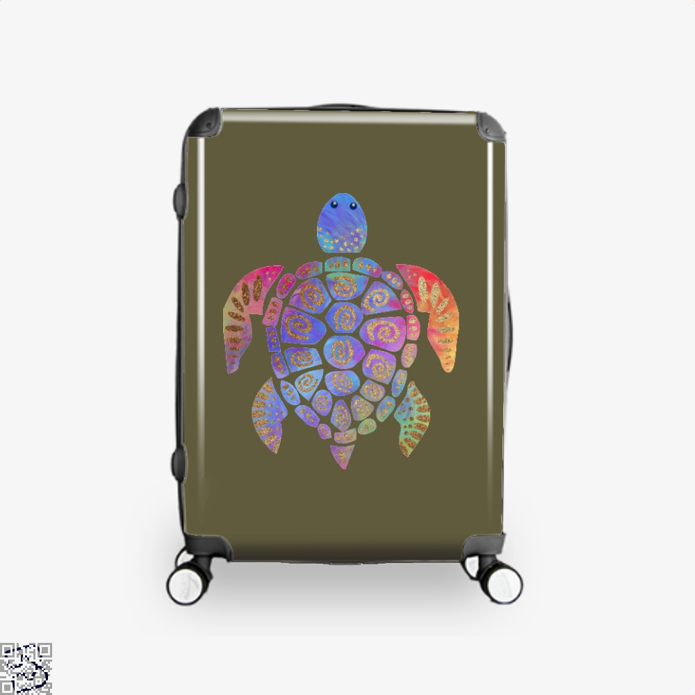 Sea Turtle Colorful Gold Turtles Suitcase - Brown / 16 - Productgenjpg