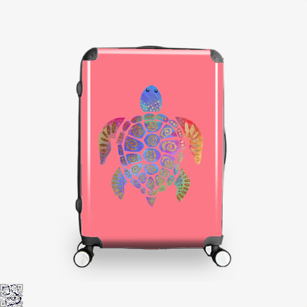 Sea Turtle Colorful Gold Turtles Suitcase - Pink / 16 - Productgenjpg