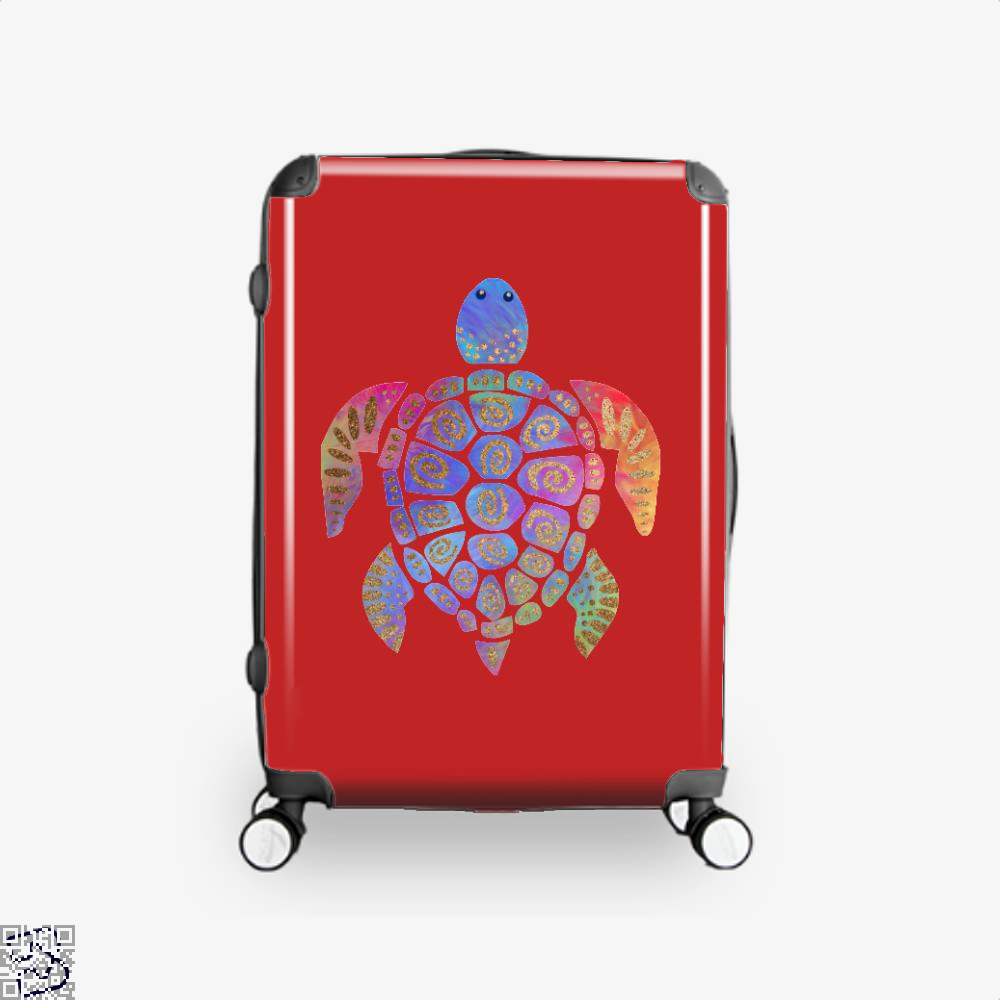 Sea Turtle Colorful Gold Turtles Suitcase - Red / 16 - Productgenjpg