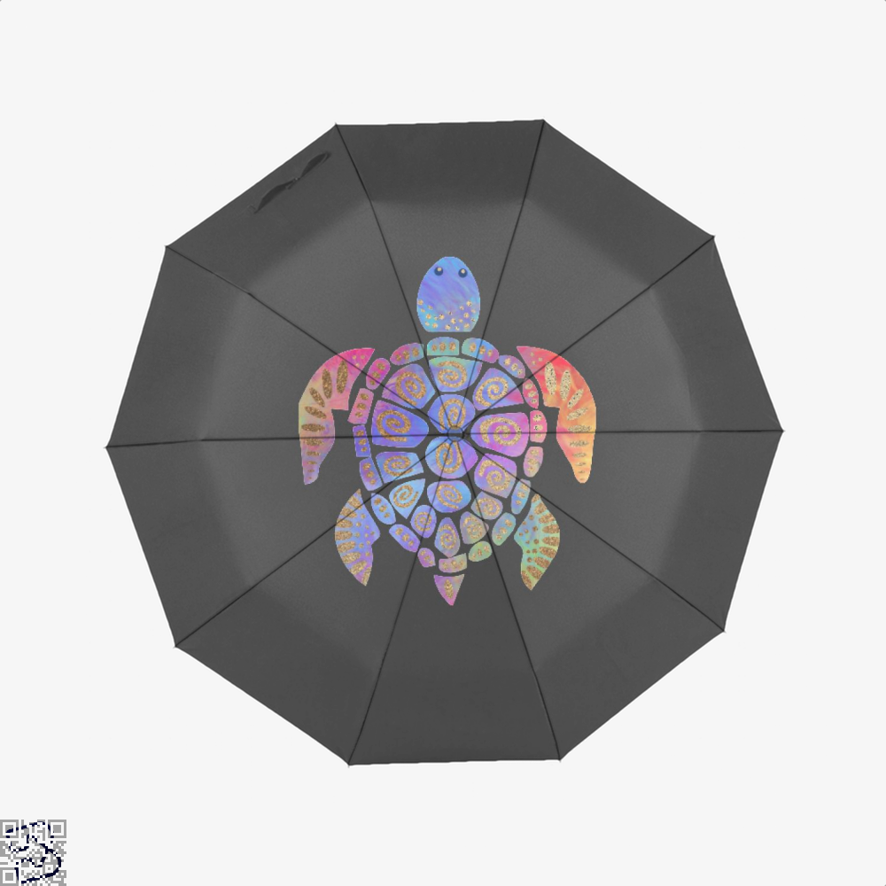 Sea Turtle Colorful Gold Turtles Umbrella - Black - Productgenjpg
