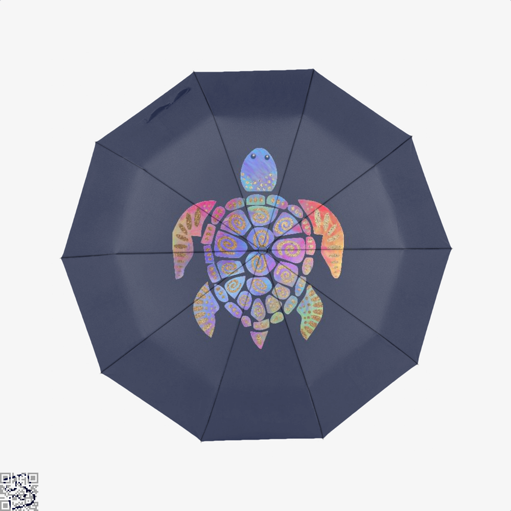 Sea Turtle Colorful Gold Turtles Umbrella - Blue - Productgenjpg