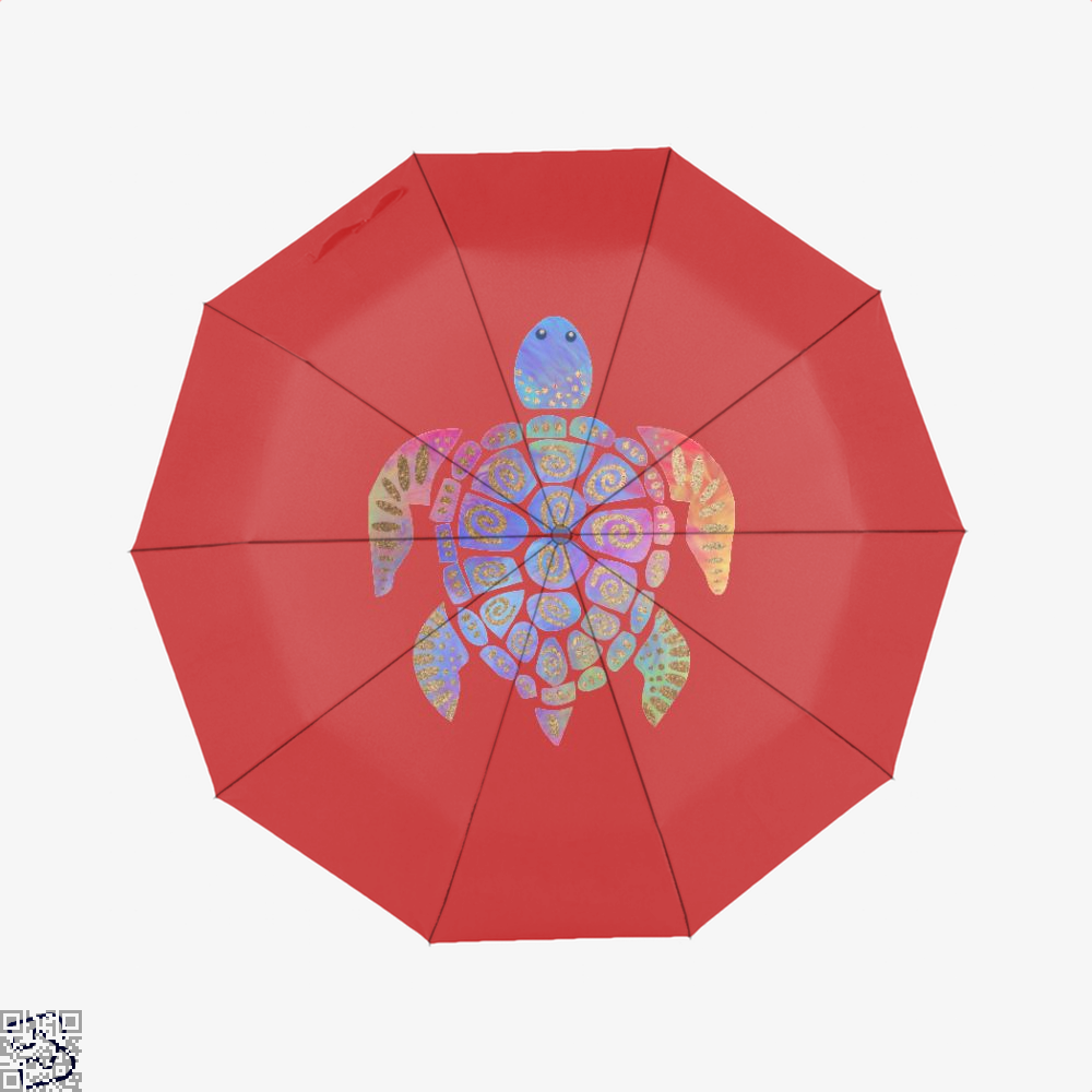 Sea Turtle Colorful Gold Turtles Umbrella - Red - Productgenjpg