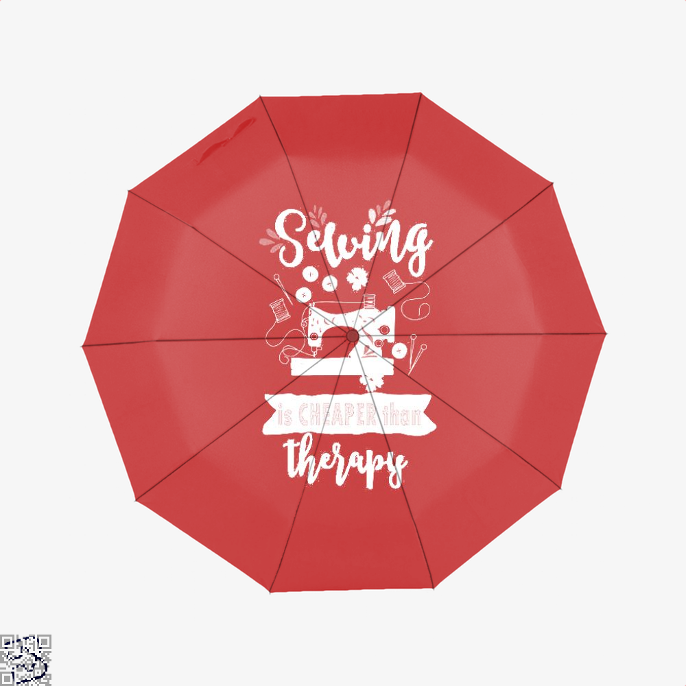 Sewing Is Cheaper Than Therapy Quilting Quilter Seamstress Umbrella - Red - Productgenjpg