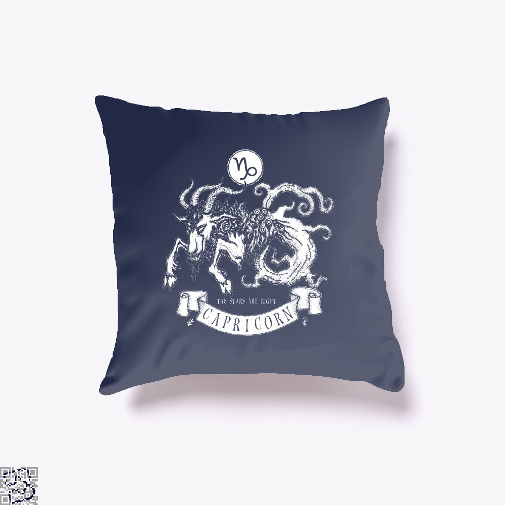 Shub-Niggurath Capricorn Astrology Throw Pillow Cover - Blue / 16 X - Productgenapi