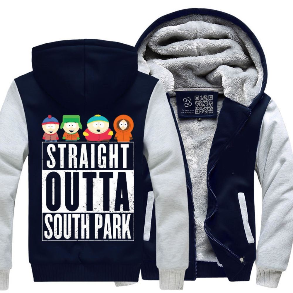 Straight Outta South Park Fleece Jacket - White / X-Small - Productgenapi