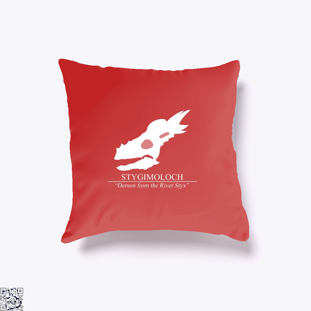 Stygimoloch Skull Jurassic World Throw Pillow Cover - Red / 16 X - Productgenapi