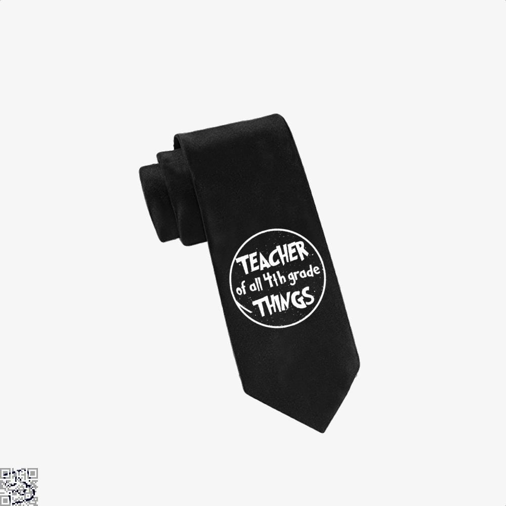 Teacher Of All 4Th Grade Things Deadpan Tie - Black - Productgenjpg