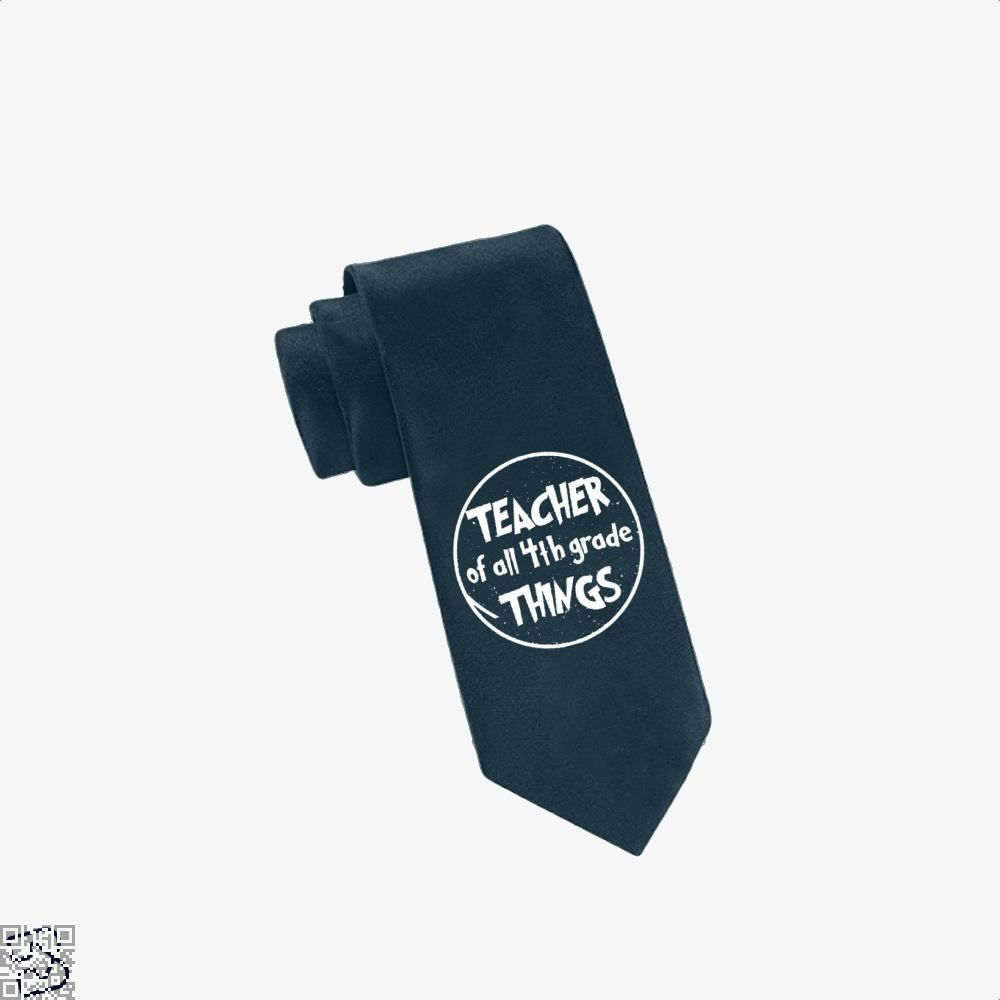 Teacher Of All 4Th Grade Things Deadpan Tie - Navy - Productgenjpg