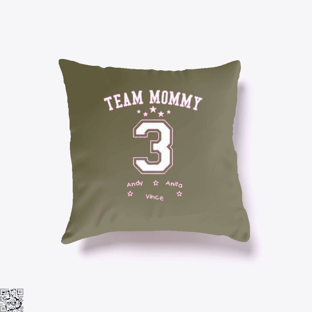 Team Mommy 3 Mothers Day Throw Pillow Cover - Brown / 16 X - Productgenjpg