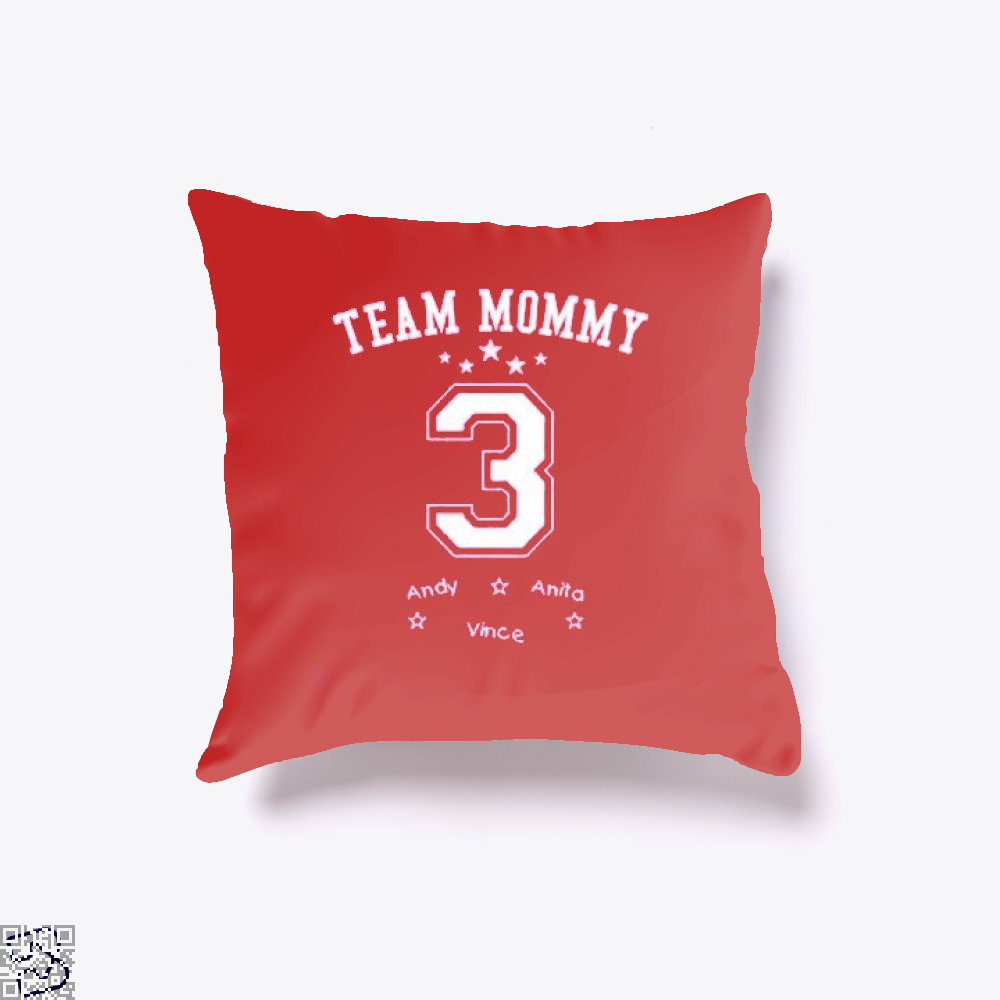 Team Mommy 3 Mothers Day Throw Pillow Cover - Red / 16 X - Productgenjpg