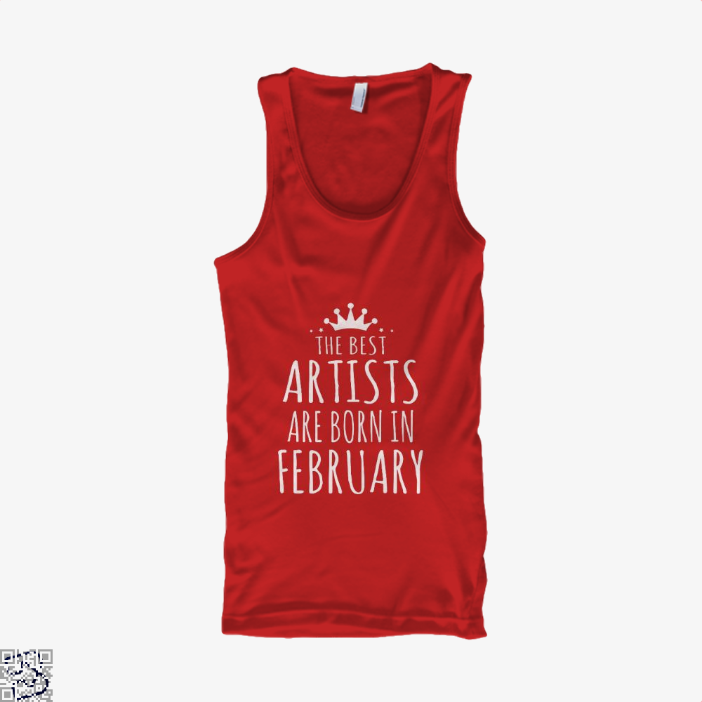 The Best Artists Are Born In February Sewing Tank Top - Women / Red / X-Small - Productgenjpg