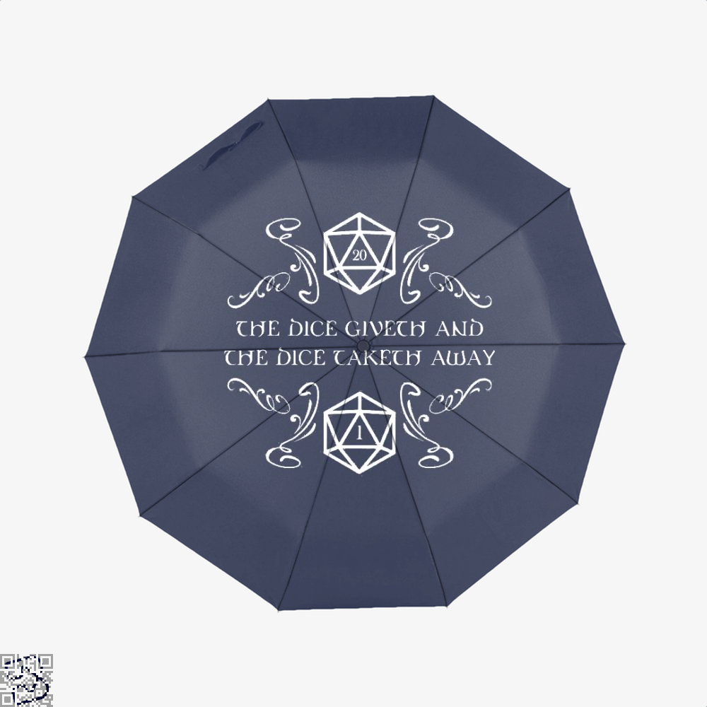 The Dice Giveth And Taketh Dragon Dungeon Umbrella - Blue - Productgenjpg