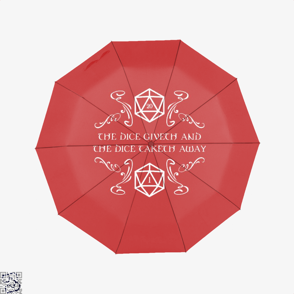 The Dice Giveth And Taketh Dragon Dungeon Umbrella - Red - Productgenjpg