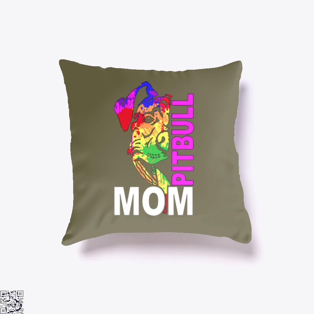 The Pitbull Rainbow Pit Bull Mom Throw Pillow Cover - Brown / 16 X - Productgenjpg