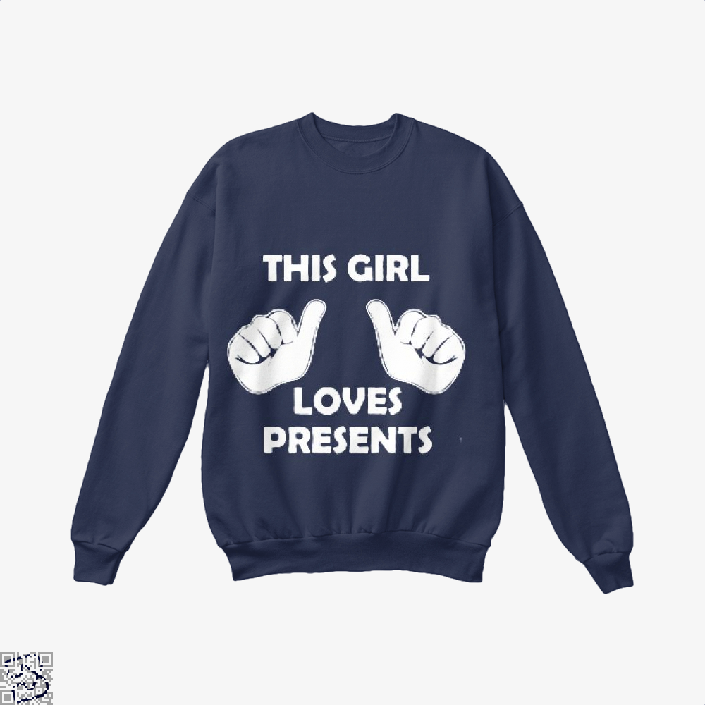 This Girl Loves Presents Deadpan Crew Neck Sweatshirt - Blue / X-Small - Productgenjpg