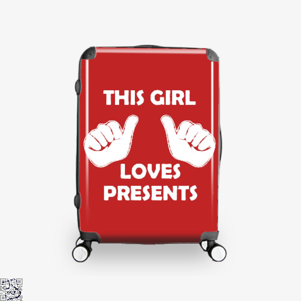 This Girl Loves Presents Deadpan Suitcase - Red / 16 - Productgenjpg